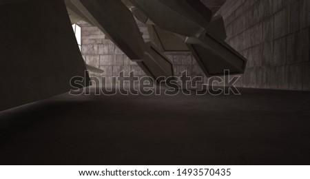 Abstract architectural brown and beige concrete interior of a minimalist house. 3D illustration and rendering #1493570435