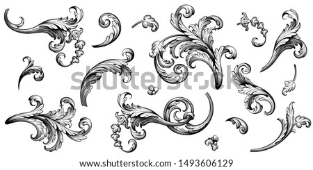 Vintage Baroque Victorian frame border floral ornament leaf scroll engraved retro flower pattern decorative design tattoo black and white Japanese filigree calligraphic vector heraldic swirl Royalty-Free Stock Photo #1493606129