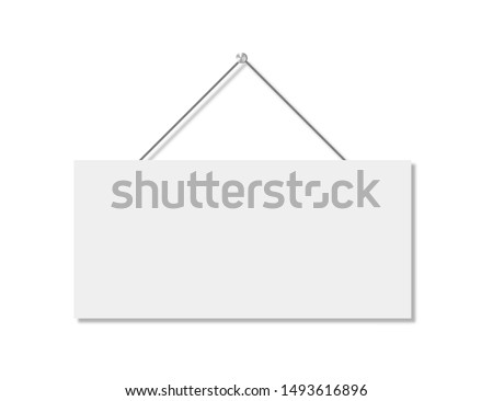 Realistic banner for paper design. Isolated vector illustration. Realistic vector signboard on white background. EPS 10 Royalty-Free Stock Photo #1493616896
