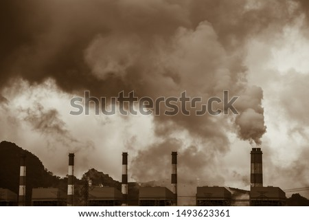Air pollution crisis of danger PM 2.5  carbon dioxide dust smoke from coal power plant #1493623361