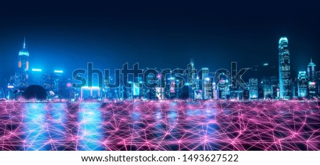 Smart network and Connection technology concept, Hong Kong digital city background at night in victoria harbour, Cyberpunk color style, Panorama view #1493627522