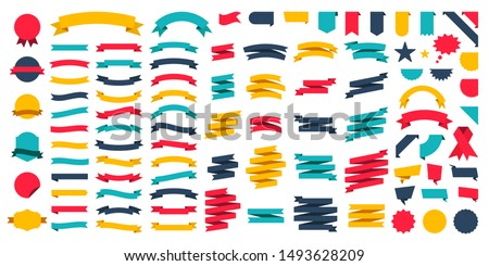 Set of 100 Ribbons. Ribbon elements. Starburst label. Vintage. Modern simple ribbons collection. Vector illustration. #1493628209
