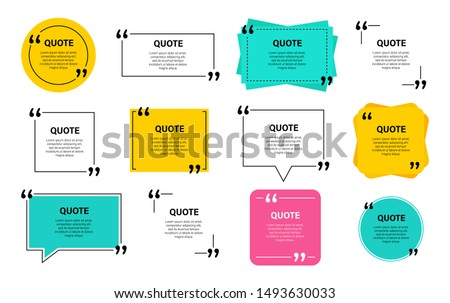 Quote box frame, big set. Quote box icon. Texting quote boxes. Blank template quote text info design boxes quotation bubble blog quotes symbols. Creative vector banner illustration. Royalty-Free Stock Photo #1493630033