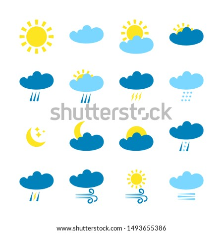 Weather forecast  icons set isolated on white background. Weather symbols  in modern style. Symbols for web site design and mobile apps.  #1493655386