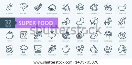 Super food - thin line icon set of fruits, vegetables, berries, nuts, roots and seeds. Outline icons collection of healthy detox natural products, organic food ingredients for health and diet.  #1493705870