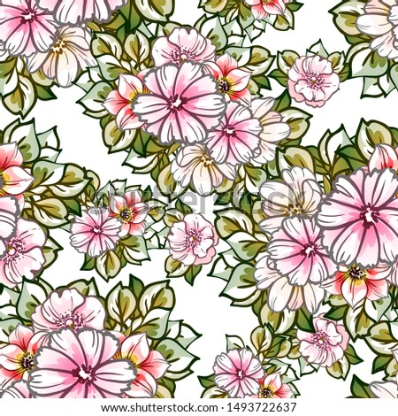 Abstract seamless pattern with plants, herbs and flowers #1493722637