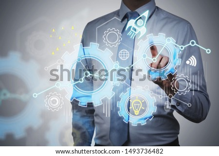 Unrecognizable businessman in white shirt and blue tie using immersive startup interface. Concept of new project launch. Double exposure #1493736482