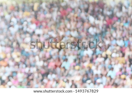 Defocused audience at stadium, light tone scene. Large group of people, crowd attendance in arena #1493767829