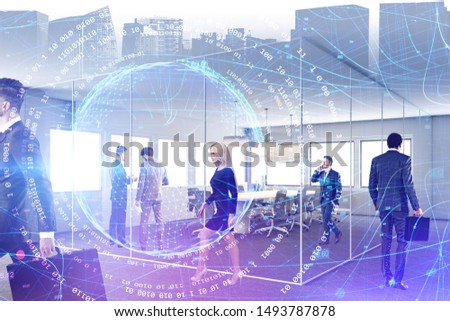 Business people working together in conference room with double exposure of cityscape, digital planet hologram and binary numbers. Concept of programming. Toned image #1493787878