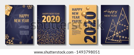 Set of Flyer, poster, banner, brochure design templates for Happy new year 2020. Blue and gold collors. Christmas balls, abstract christmas tree, snowflakes, gift box. Perfect for invitation, card. #1493798051