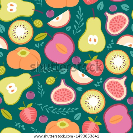 Seamless patter with summer fruits on bright blue background #1493853641