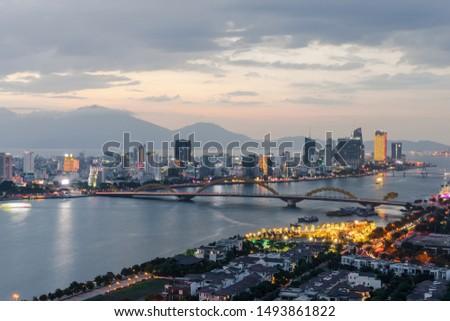 Da Nang city skyline cityscape at Han river at twilight in Da Nang, central Vietnam #1493861822