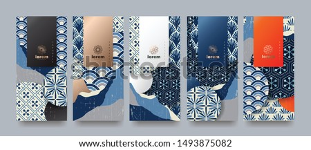 Vector set packaging templates japanese of nature luxury or premium products.logo design with trendy linear style.voucher, flyer, brochure.Menu book cover japan style vector illustration. #1493875082