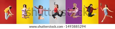 Different jumping women on color background #1493885294