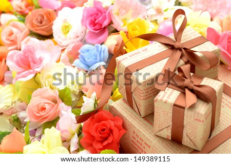 Present box with many flowers