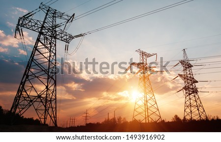 High-voltage power lines. Electricity distribution station. high voltage electric transmission tower. Distribution electric substation with power lines and transformers. #1493916902