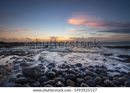 Seascape of Westward Ho! North Devon. UK Royalty-Free Stock Photo #1493925527