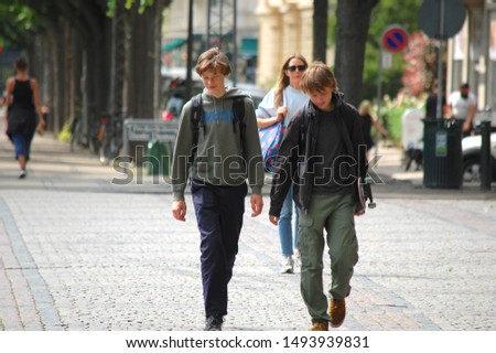 Copenhagen/Denmark - 17 June 2019:  people on the street of city.  #1493939831