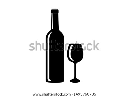Silhouette bottle and glass of wine illustration. Bottle of wine icon. Wine glass icon. Wine bottle and glass isolated on white background