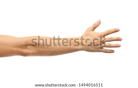 Young man held out hand on white background, closeup Royalty-Free Stock Photo #1494016511