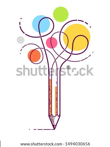 Graphic pencil with curly lines symbolizes creativity, vector logo illustration. Royalty-Free Stock Photo #1494030656