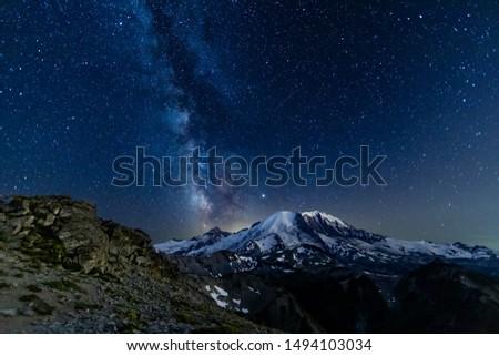 Night sky of Mount Rainier and the Milky Way Galaxy #1494103034