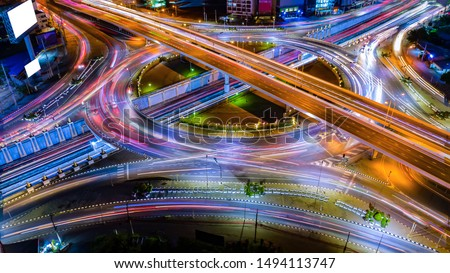 Aerial view Expressway motorway highway circus intersection at Night time Top view , Road traffic in city at thailand. #1494113747