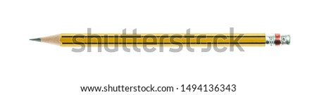 Yellow pencil with black stripe isolated on white background. Royalty-Free Stock Photo #1494136343