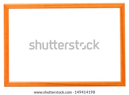 modern orange narrow picture frame with cutout canvas isolated on white background