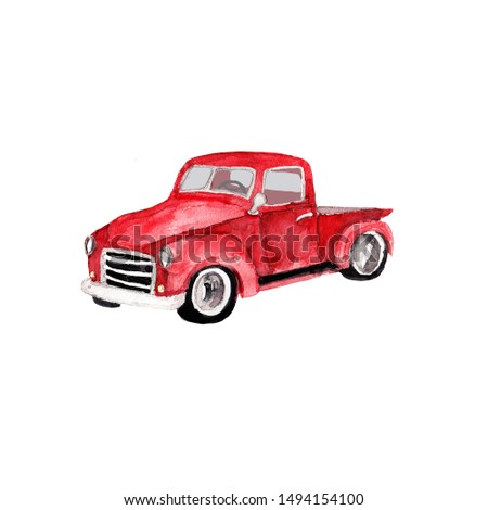 Watercolor hand drawn artistic colorful retro vintage car  with Christmas  tree isolated on white background