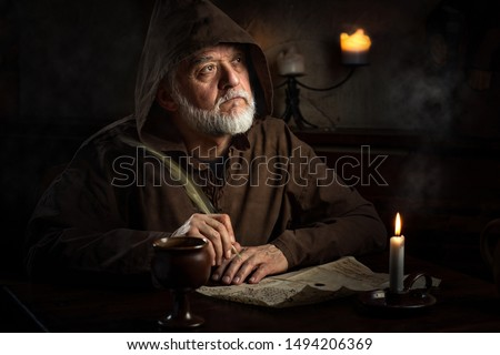 medieval monk writer in monastery #1494206369