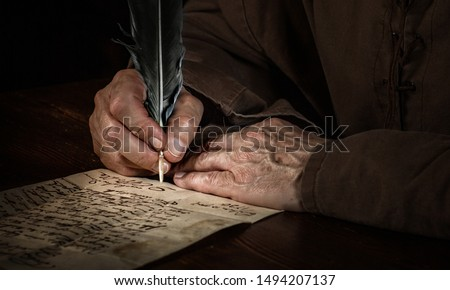 mevieval writer Hands with letter Royalty-Free Stock Photo #1494207137