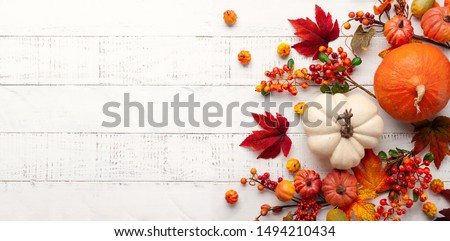 Festive autumn decor from pumpkins, berries and leaves on a white  wooden background. Concept of Thanksgiving day or Halloween. Flat lay autumn composition with copy space. #1494210434