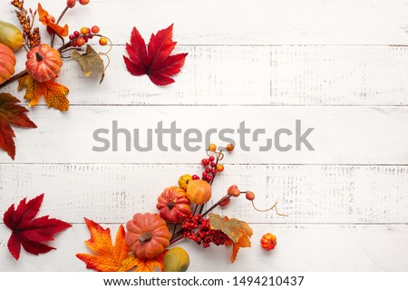 Festive autumn decor from pumpkins, berries and leaves on a white  wooden background. Concept of Thanksgiving day or Halloween. Flat lay autumn composition with copy space. #1494210437