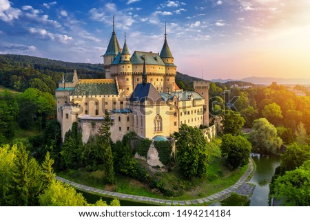 Aerial view of Bojnice medieval castle, UNESCO heritage in Slovakia. Romantic castle with gothic and Renaissance elements built in 12th century. #1494214184