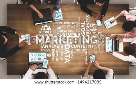 Digital Marketing Technology Solution for Online Business Concept - Graphic interface showing analytic diagram of online market promotion strategy on digital advertising platform via social media. #1494217085