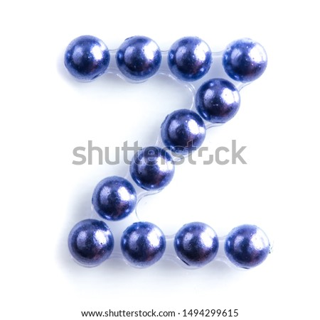 Blue beads font letter of english alphabet on white background #1494299615