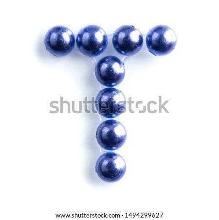 Blue beads font letter of english alphabet on white background #1494299627