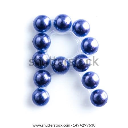 Blue beads font letter of english alphabet on white background #1494299630