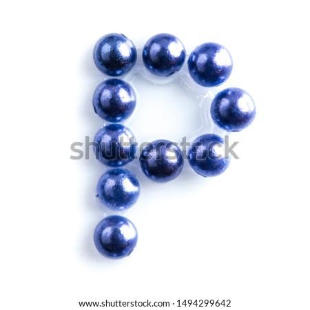 Blue beads font letter of english alphabet on white background #1494299642