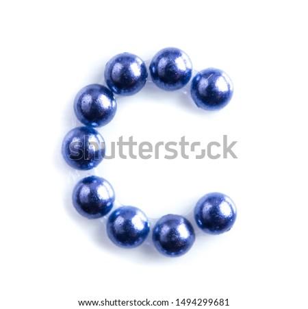 Blue beads font letter of english alphabet on white background #1494299681