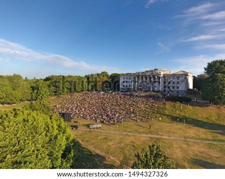 Lithuania. Movies festival at tauro kalnas. Vilnius. Drone photography. Royalty-Free Stock Photo #1494327326