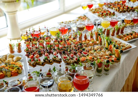 Snack table ready for event. Food and drink catering. Top view #1494349766
