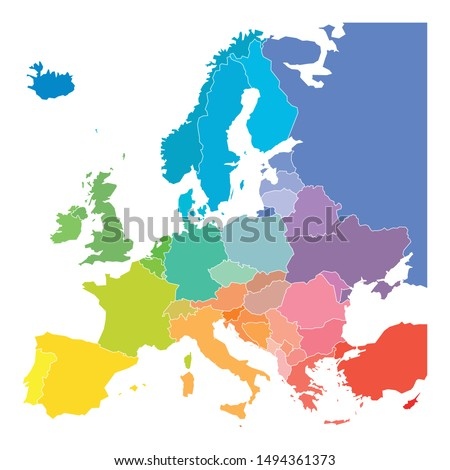 Map of Europe in colors of rainbow spectrum. With European countries names. #1494361373