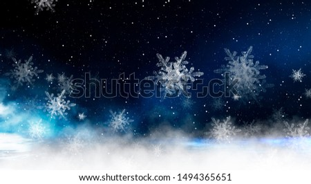 Empty dark, winter scene with snowflakes, winter dark background. Abstract snow, blizzard. Abstract light, rays, snow. Winter night.
