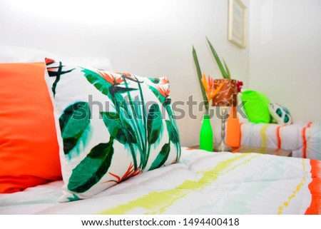 Pillows. Patterned pillows. Bedroom and pillows  #1494400418