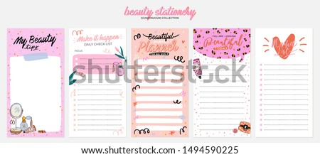 Collection of weekly or daily planner, note paper, to do list, stickers templates decorated by cute beauty cosmetic illustrations and trendy lettering. Trendy scheduler or organizer. Flat vector #1494590225