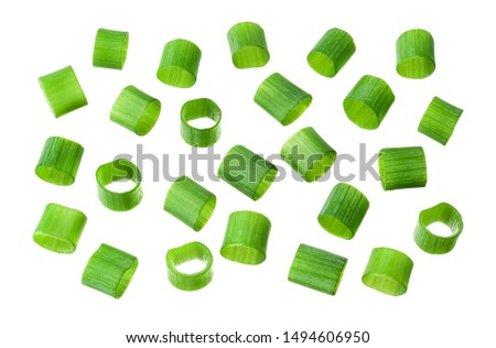 Spring chopped onions. Green onion isolated. Heap of cut chives. #1494606950