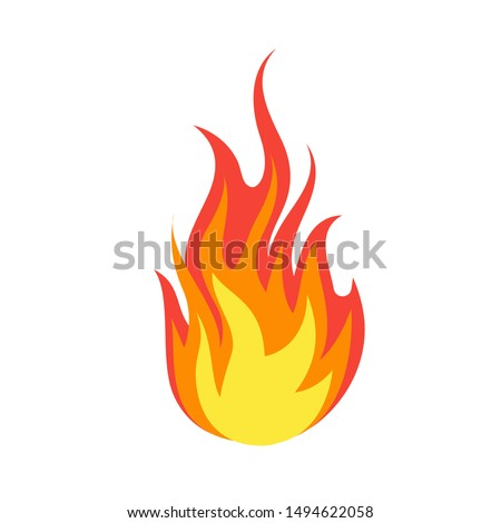 Fire emoji. Simple light creative dangerous energy flame burns fired symbol isolated vector burning dangers blazing sticker illustration