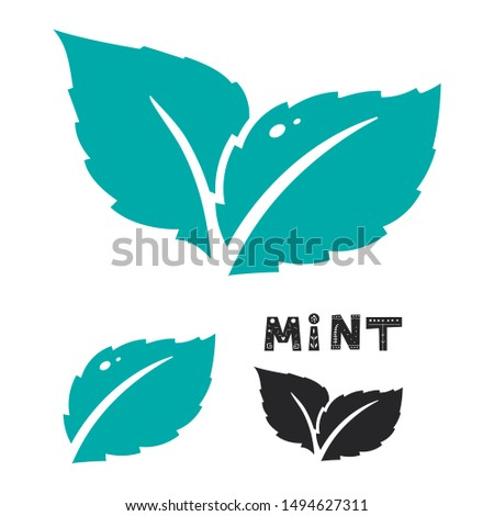 Blue mint leave icon on white. Mint leaves vector logo. Two leaves of a mint with one color black version. #1494627311